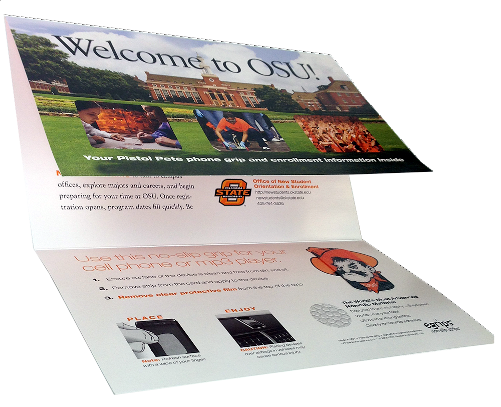 OSU Oklahoma State University Gate Folded Direct Mail Card with egrips Anti-Slip Phone Sticker